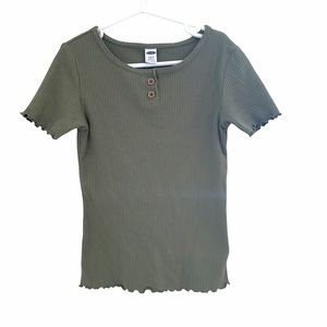 Girls Ribbed Henley Style Top